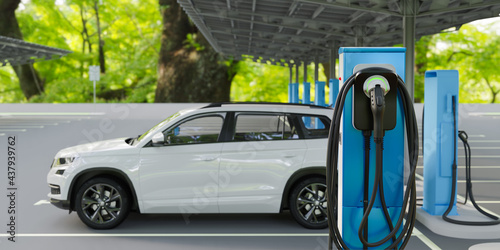 Fotografia Charge point of electric vehicle charging station, 3d render