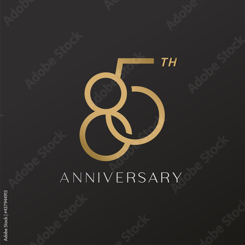 Wallpaper Mural 85th anniversary celebration logotype with elegant number shiny gold design
