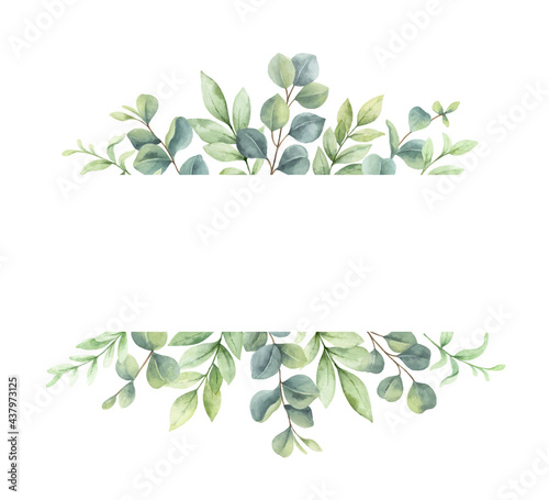 Stampa su Tela Watercolor vector wreath of green branches and leaves.