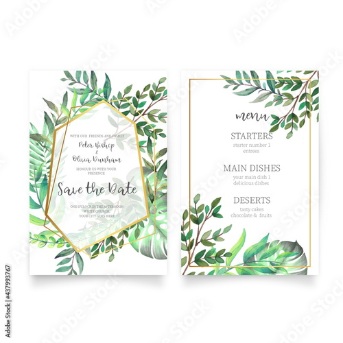 Canvas Print floral wedding invitation with vintage watercolor leaves design vector illustrat