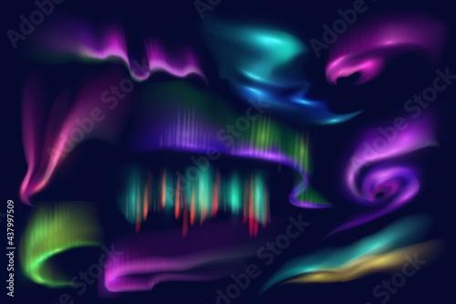 Canvastavla Northern polar lights, aurora borealis glow, vector Arctic natural phenomena isolated on blue background