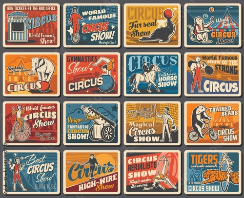 Circus show performers and animals retro banners Fotobehang