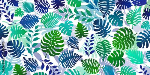 Canvastavla Background with exotic jungle plants