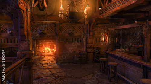 Fotografia, Obraz 3D rendering of the interior of a medieval tavern bar lit by candlelight and burning fire