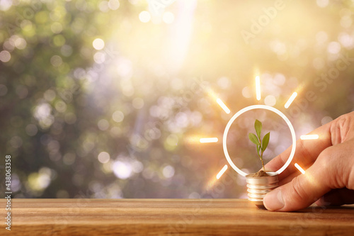 Canvas Print Concept image if green lightbulb, symbol of scr, innovation and eco friendly bus