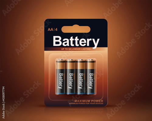 Tablou Canvas 3d battery blister package design