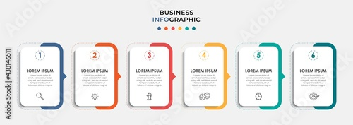 Canvas Print Vector Infographic design business template with icons and 6 options or steps