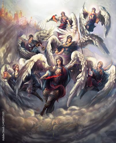 the seven Archangels of God Fototapete