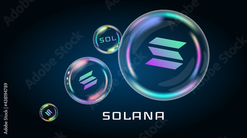 Photo Solana SOL token symbol in soap bubble