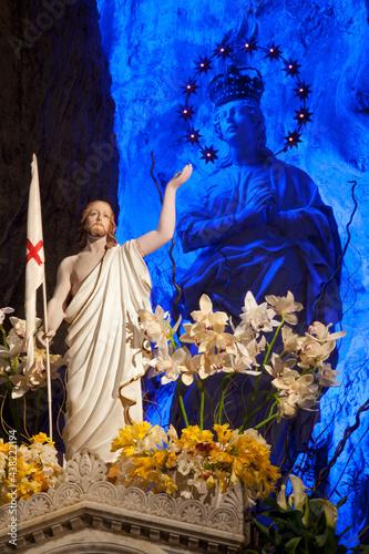 Fototapeta PALERMO - APRIL 9: Statue of resurrected Christ and hl
