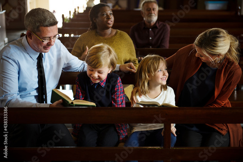 A caucasian family in church