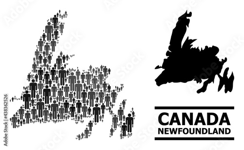 Canvas Print Map of Newfoundland Island for demographics promotion