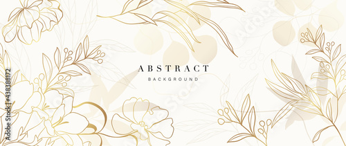 Golden Wild Flowers line art background vector. Luxury abstract art background with artificial flowers, Gold leaves, eucalyptus, trending hydrangea and summer blooms. Botanical wedding wallpaper.