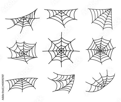Fotografija Spider web silhouette hanging for Halloween banner decorations