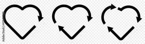Canvastavla Set of recycle heart symbol