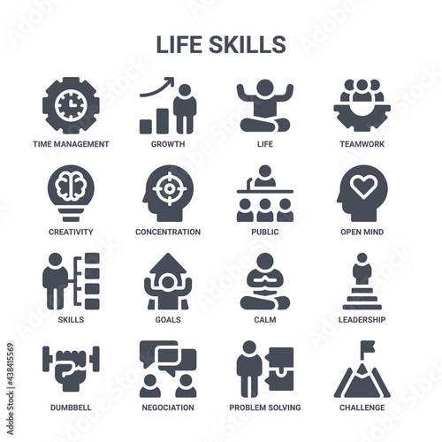 icon set of 16 life skills concept vector filled icons such as growth, creativit Fotobehang