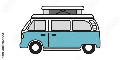 Foto Pop top camper van or travel RV for van life in vector icon