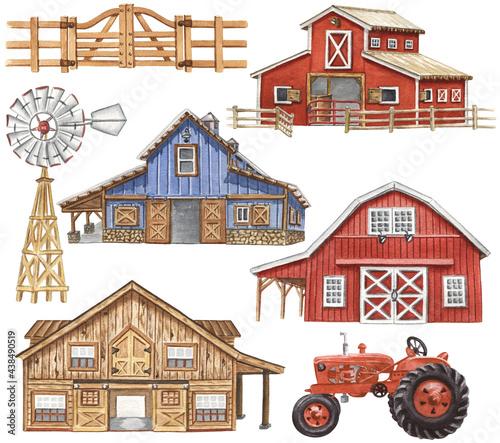 Fotografia Watercolor Barns Clipart