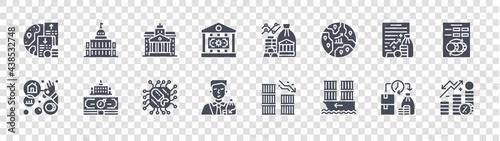 Fotografia economic crisis glyph icons on transparent background