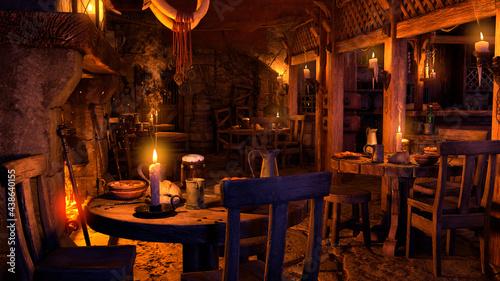Fotografie, Obraz 3D Rendering Medieval Tavern