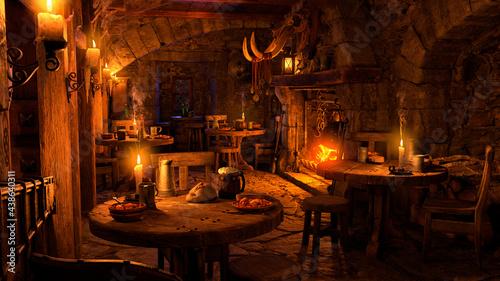 Fotografie, Tablou 3D Rendering Medieval Tavern