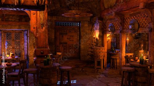 Obraz na plátně 3D Rendering Medieval Tavern