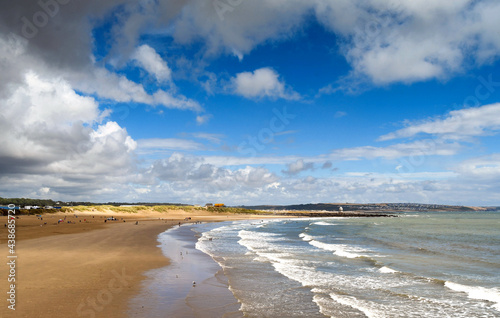 Canvas Print Coney Beach in Porthcawl in South Wales at low tide
