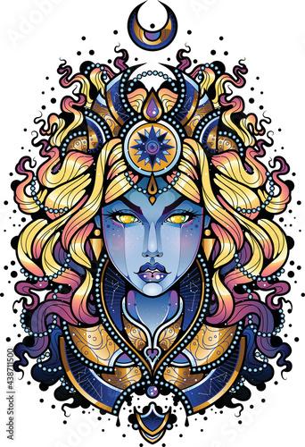 Fototapeta premium Ilustracja niebieskiej czarodziejki. Wróżka z księżycem nad głową wzór tatuażu. Kobieta z błękitna skórą.