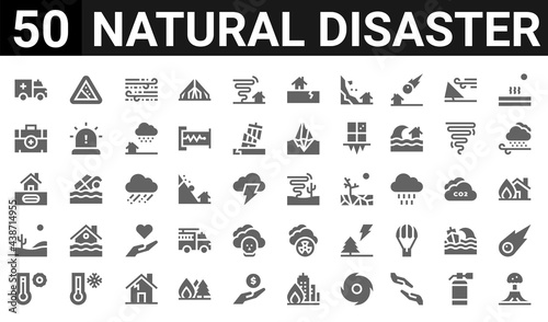 Fotografie, Obraz 50 icon pack of natural disaster web icons