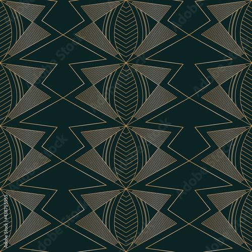 Fototapeta Vector golden moths art deco dark seamless pattern
