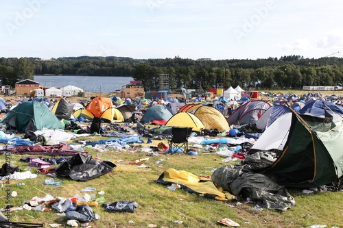 Fototapeta Field and tent village after a rock festival in Skanderborg, Denmark