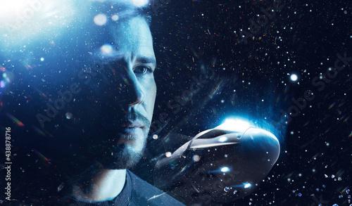 Fotografie, Tablou Double exposure portrait of futuristic astronaut