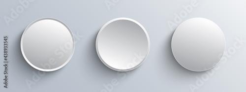 Slika na platnu Circle buttons white and gray, 3D navigation  panel for website, editable vector illustration