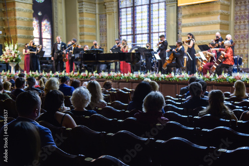 a concert of classical music performed by an orchestra