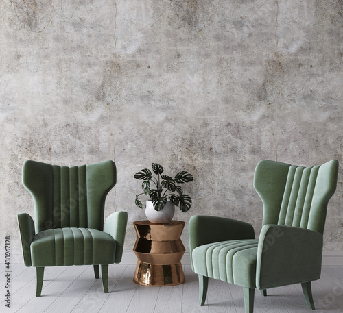 Mock up frame in cozy home interior, green armchairs on Boho background, 3d render