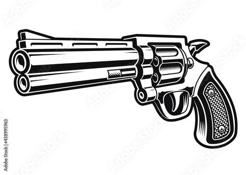 Obraz na plátně a black and white vector illustration of a revolver gun
