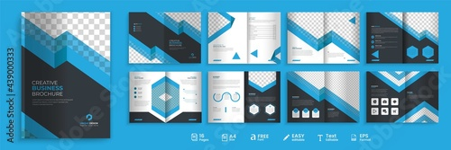 Fototapeta 16 pages business brochure, modern blue and dark color combination bi-fold brochure template, fully editable brochure template design