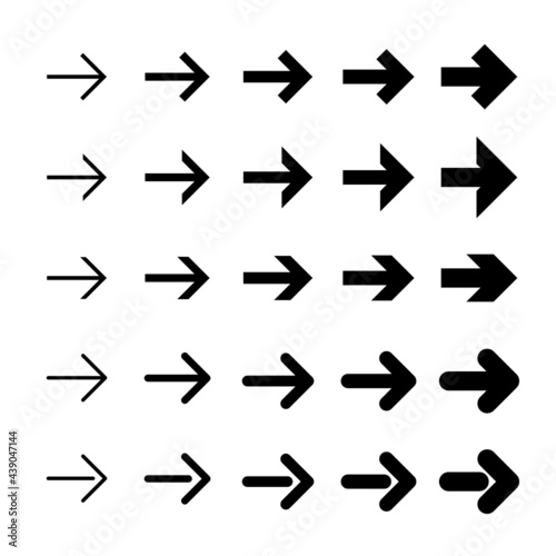 Fotografia Set of flat arrows. Arrows of different thickness. Vector.