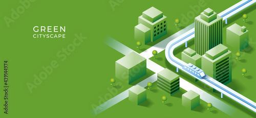 Fotografie, Tablou 3D isometric building on urban city  background