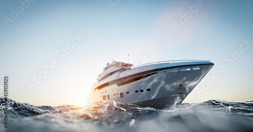Carta da parati Luxury motor yacht on the ocean