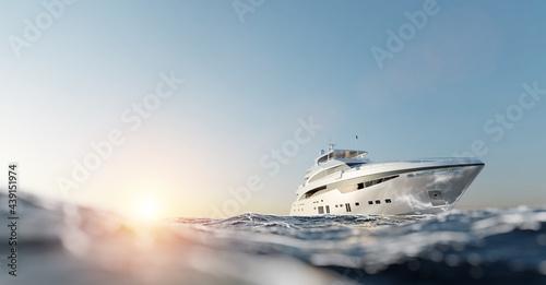 Fototapeta Luxury motor yacht on the ocean