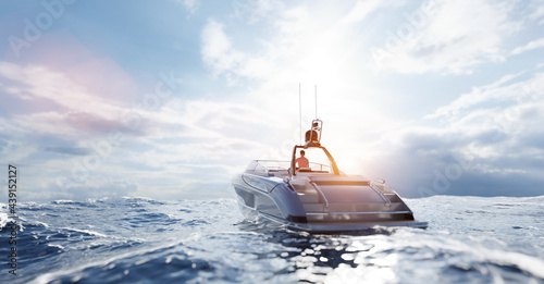 Stampa su Tela Catamaran motor yacht on the ocean