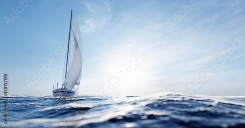 Fotografie, Obraz Sailing yacht on the ocean