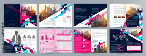 Fotografie, Obraz Corporate business presentation guide brochure template, Annual report, 16 page minimalist flat geometric business brochure design template, A4 size