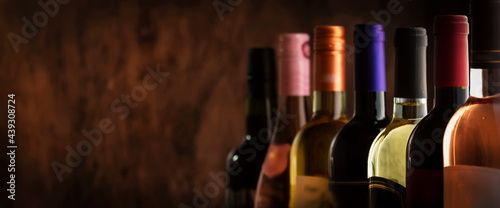 Fotografia, Obraz Wine bottles collection row in wine cellar, winery basement, bar or shop on dark
