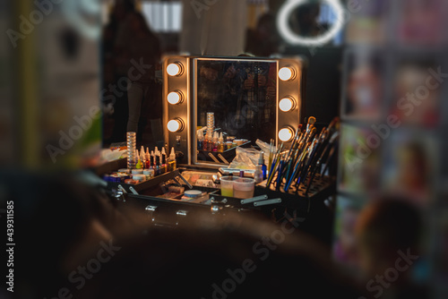 Leinwand Poster Make-up artist's workstation with a mirror and lights for backlighting
