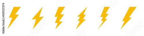 Photo Different flash icon symbol set.
