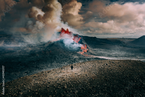 Fototapeta Selfie with Volcano Eruption