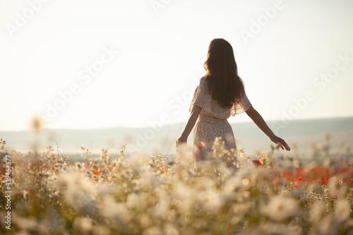 Photo Beautiful girl in summer dress walks in a flower field