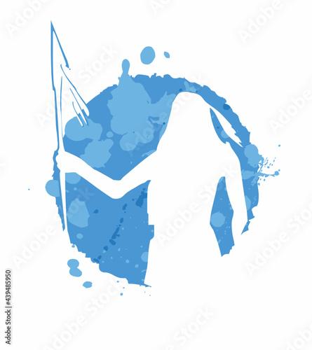 Fotografie, Obraz native american silhouette in white on blue background